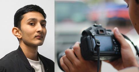 Montage photo: à gauche, portrait de l'étudiant Devang Ghosh et à droite photo de Devang tenant une caméra