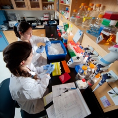 Two women wearing white lab coats and blue gloves conduct science experiments.