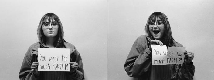 Deux photos juxtaposées montrent d'un côté une femme tenant une feuille de papier où on peut lire «Tu portes trop de maquillage!» et de l'autre, la même femme qui déchire la feuille en souriant.