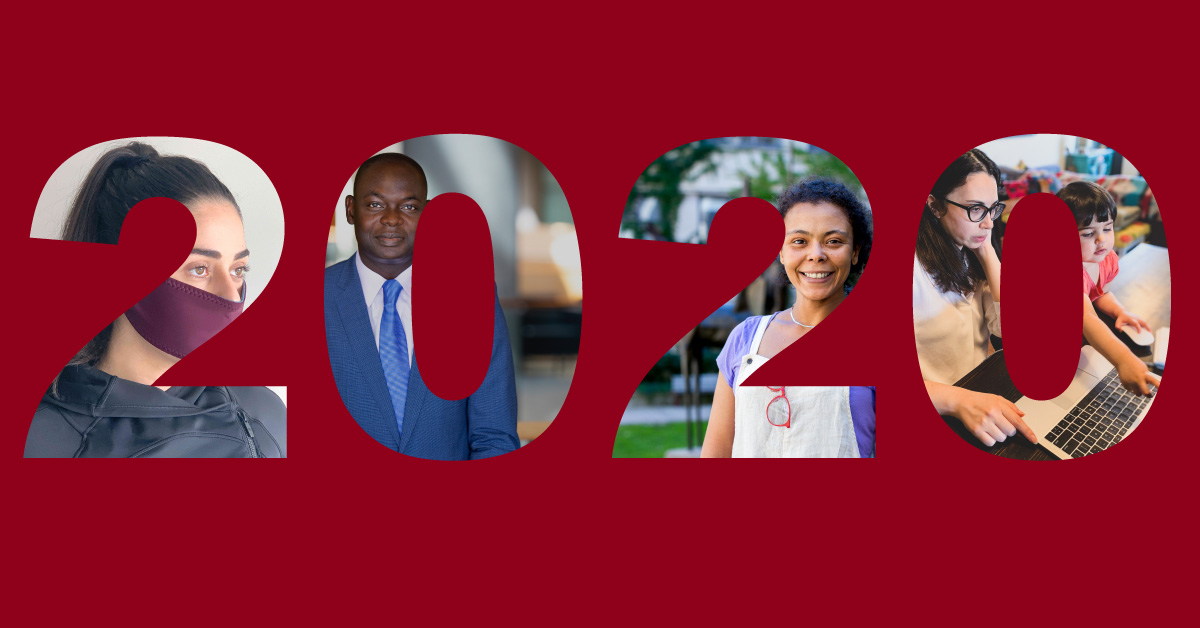 The numbers 2020 in which appear photos of members of the university community