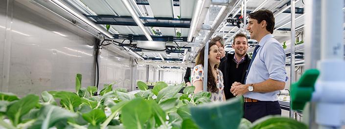 Un groupe de jeunes gens sourient en parlant avec le premier ministre Justin Trudeau devant des plants de légumes.