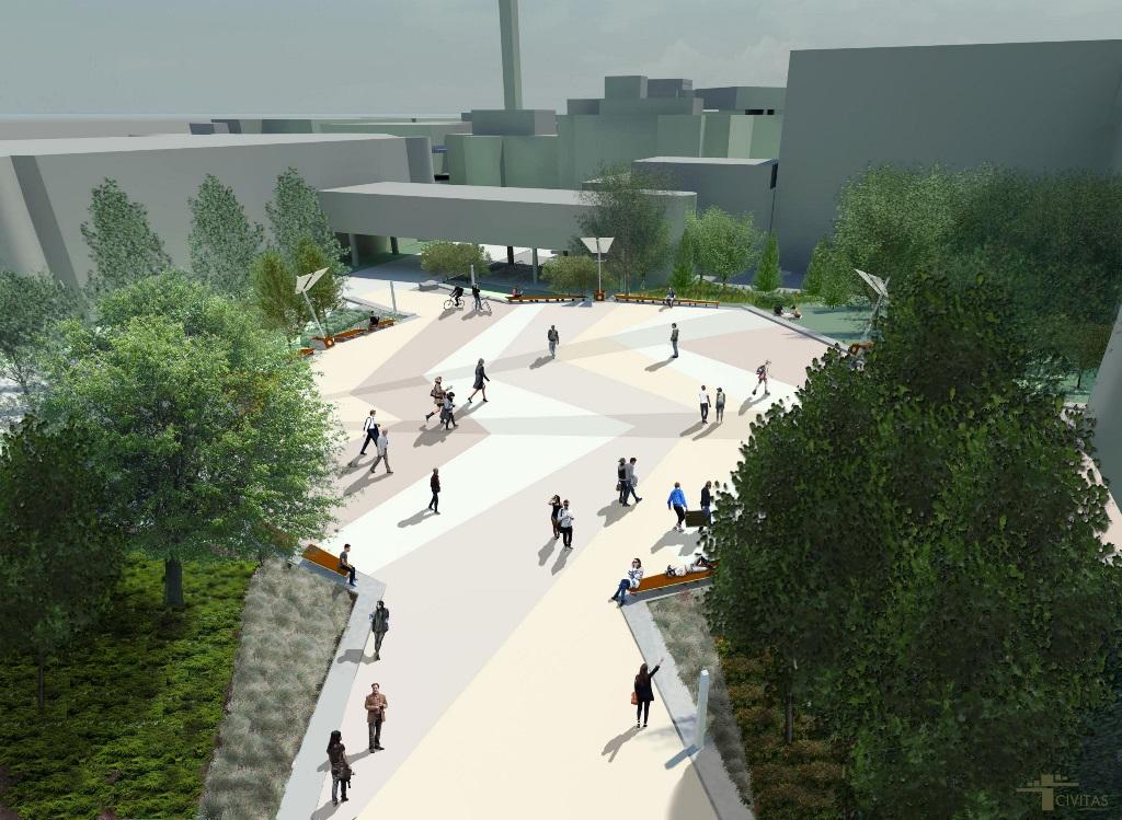 Représentation de la Place de l'Université montrant du béton coloré en zigzag entouré d'arbres en feuilles et des promeneurs.