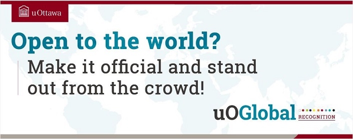 """uOGlobal graphic with the words, """"Open to the world? Make it official and stand out from the crowd!"""""""