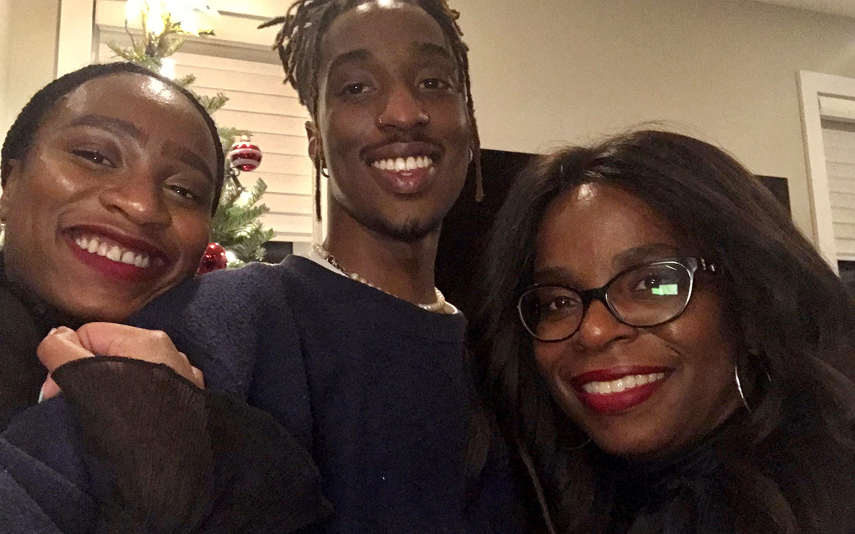 Toni Francis with her son and daughter.