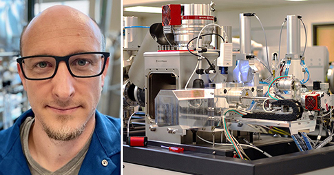 Brett Walker, à gauche, mini-spectromètre de masse par accélérateur pour la datation au radiocarbone, à droite