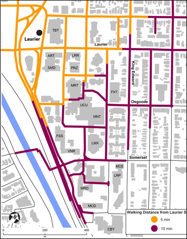 Une carte de l'Université montrant des distances de marche prévues de 5 à 10 minutes à partir de la station Laurier.