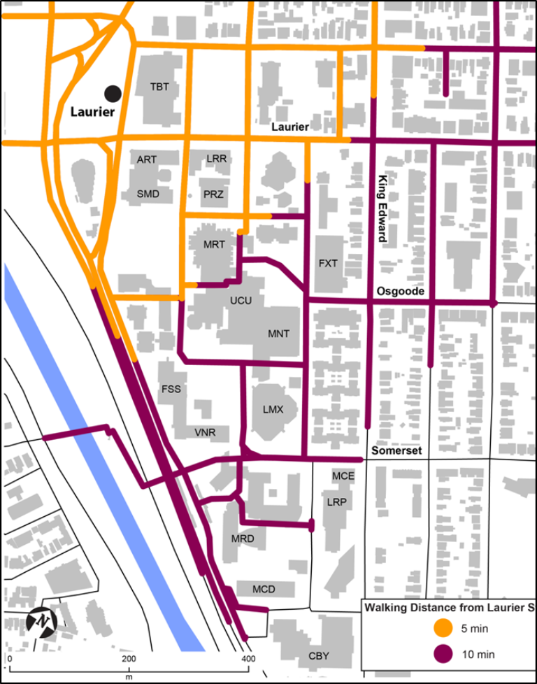 Map of uOttawa campus showing estimated 5-minute and 10-minute walking times from Laurier station.