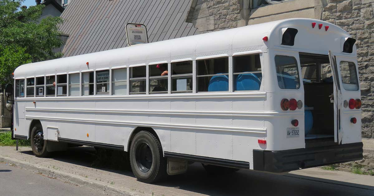 Bus seen from the side.