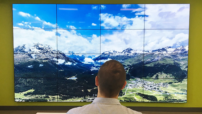 A student examines a set of sixteen screens displaying a mountain range.