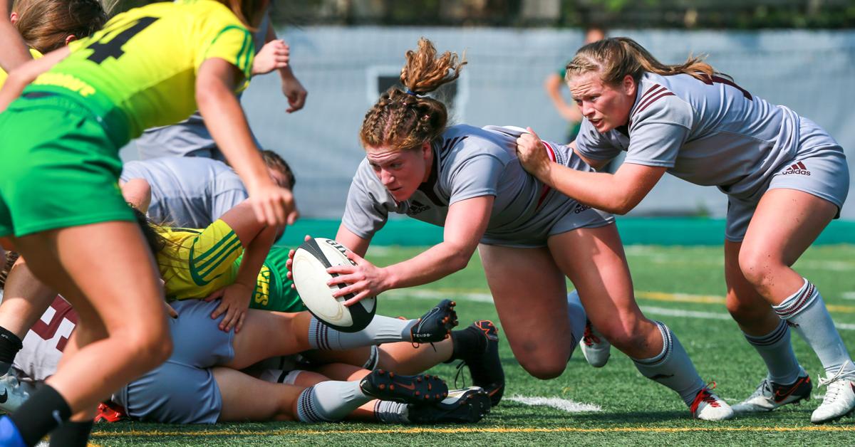 Jeu de rugby féminin en cours