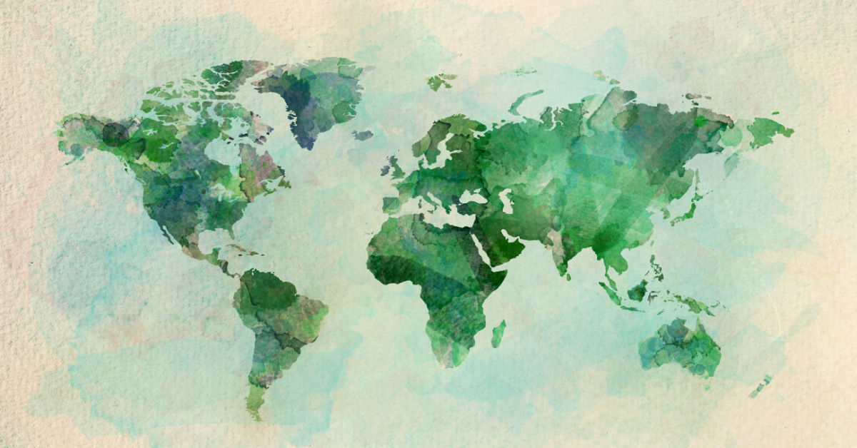 Watercolor painting representing the world map