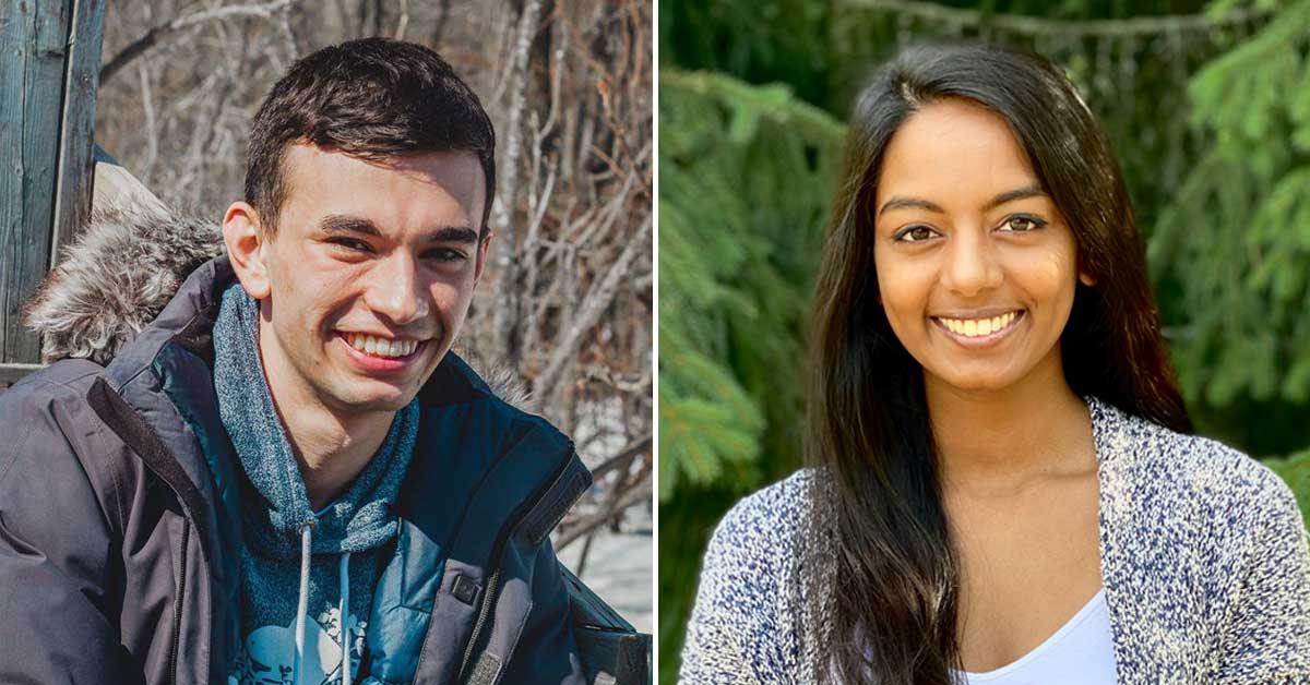 Portraits of Yannick MacMillan, left, and Trisha Kandiah, right.