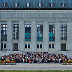Overview of a group photo of Common Law students in front of Archives Canada.