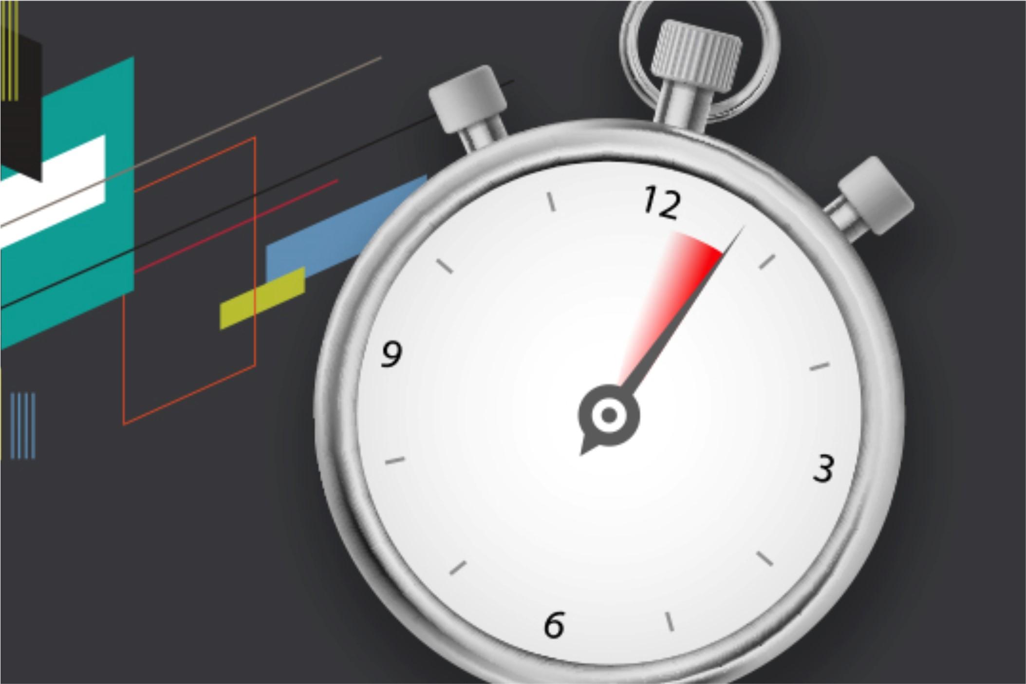 Clock on grey background