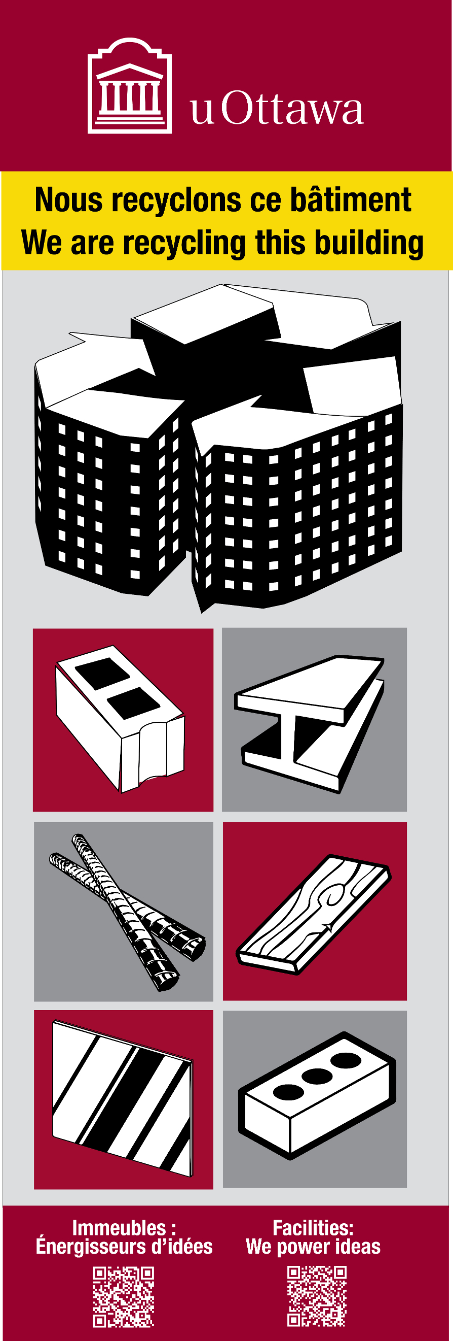 Sign used outside buildings being demolished which illustrates the materials that can be recycled