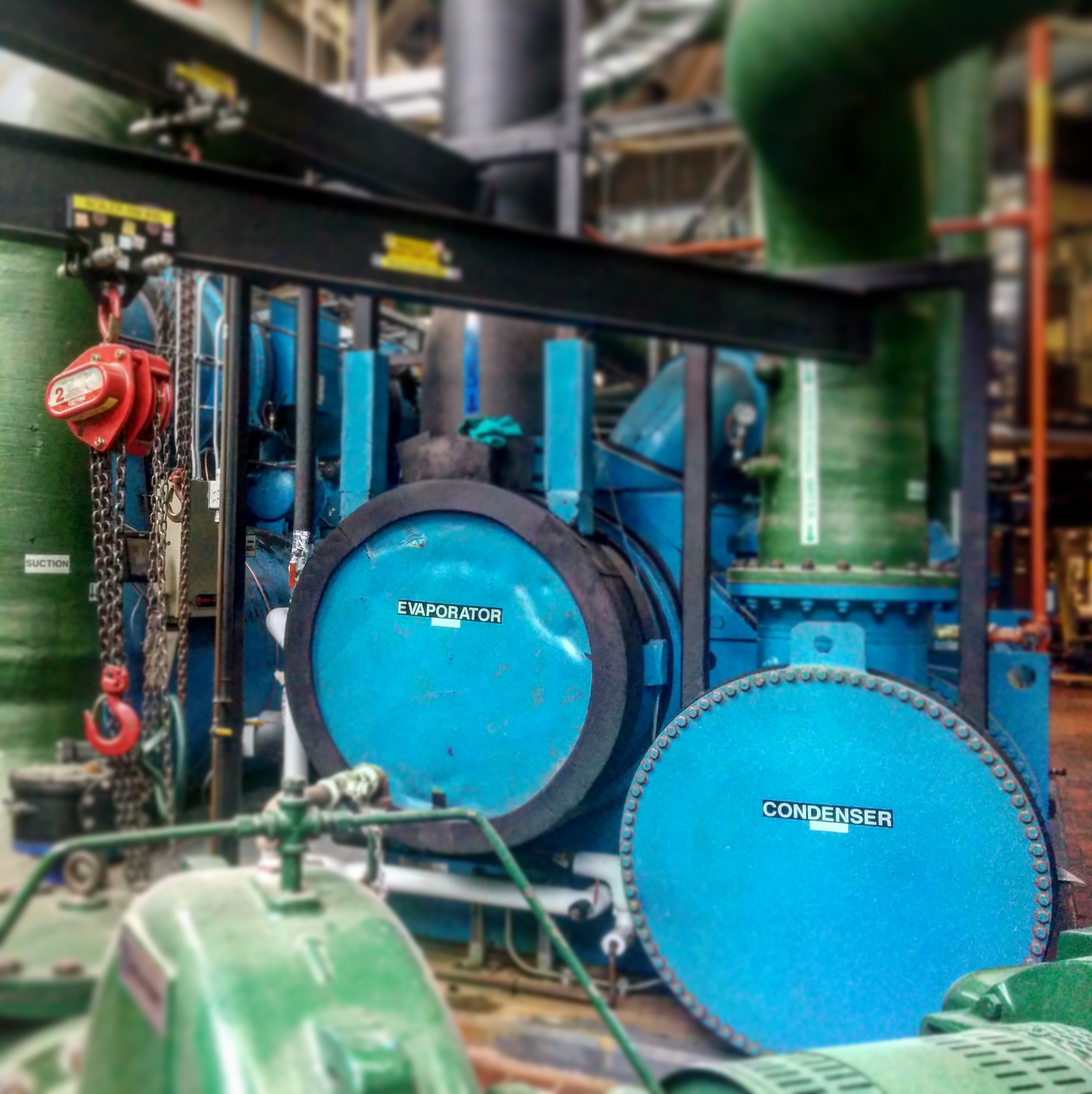 The chiller system in the Facilities power plant