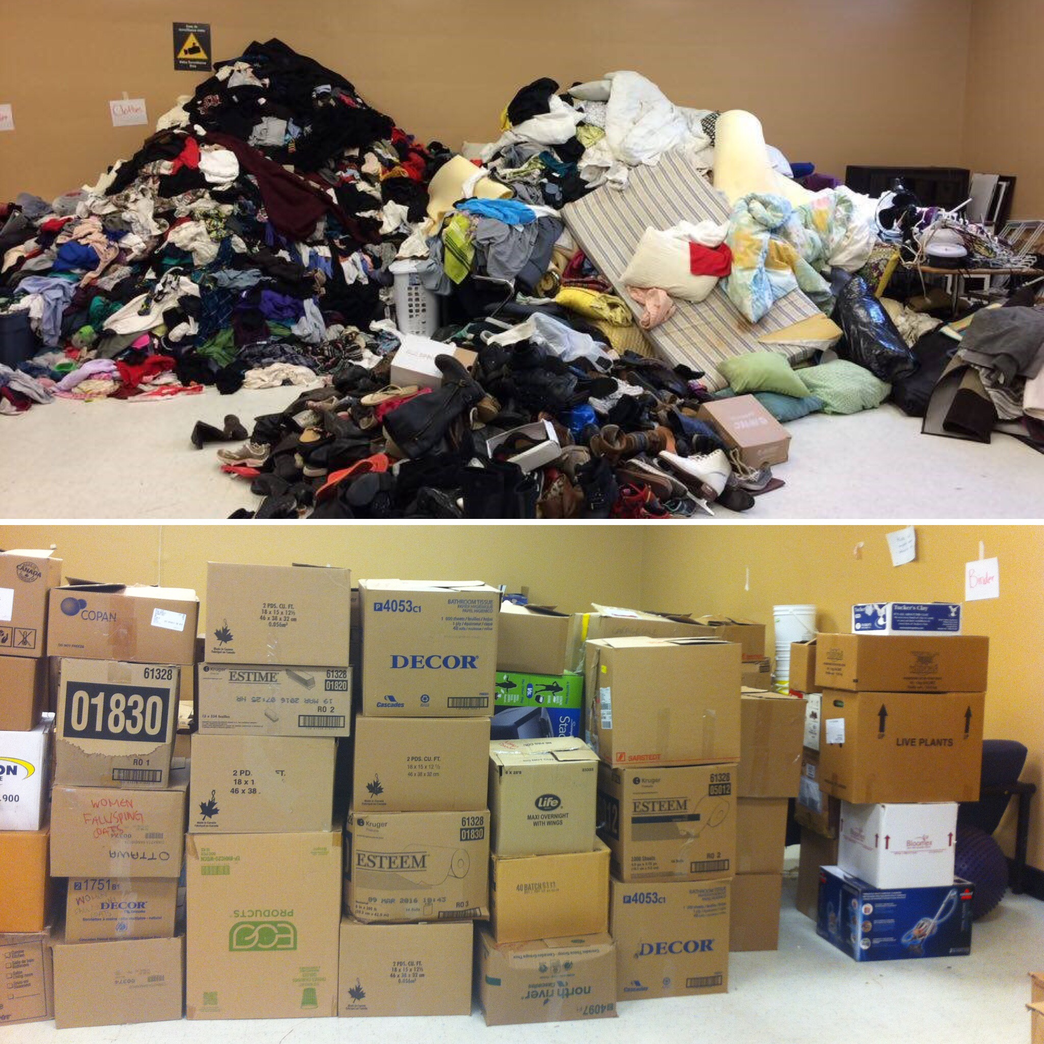 A before-and-after photo of litteral piles of goods then sorted neatly into stacked boxes