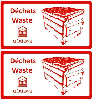 red garbage label