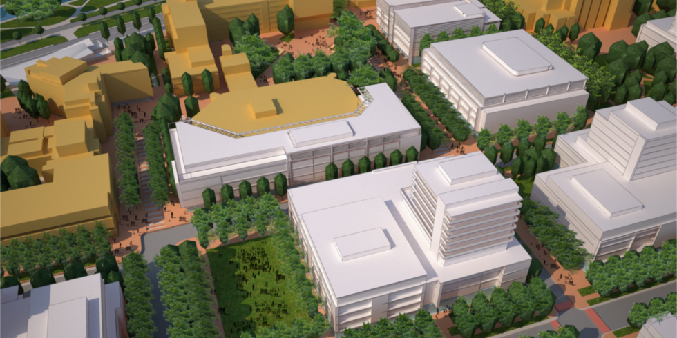 Rendering of treed campus