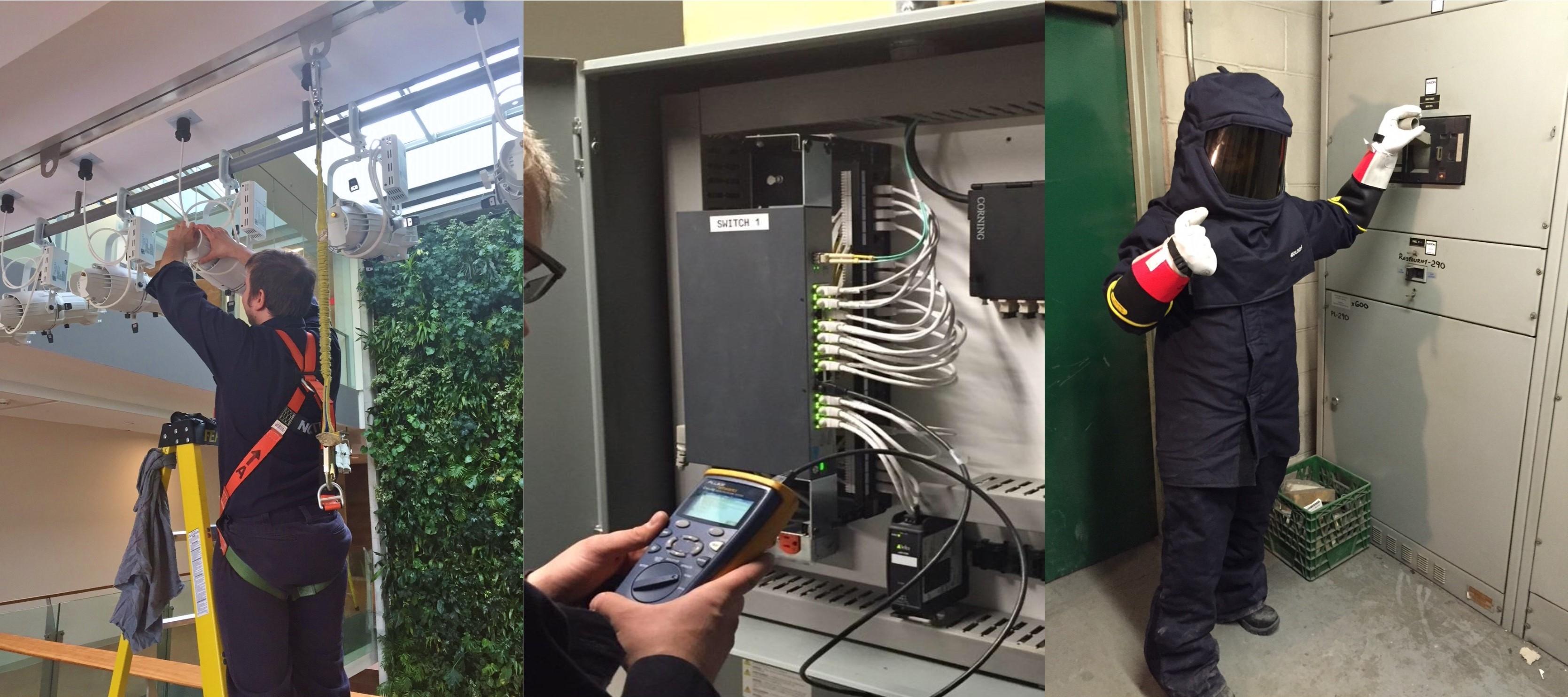 Une série de photos illustrant le personnel en train de travailler sur des lumières devant le mur vivant de FSS, sur des câbles et en costume anti arc électrique.