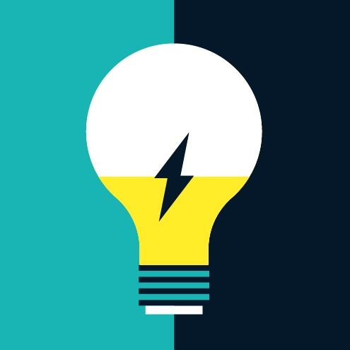 Une illustration d'une ampoule électrique avec un jet d'éclair au centre