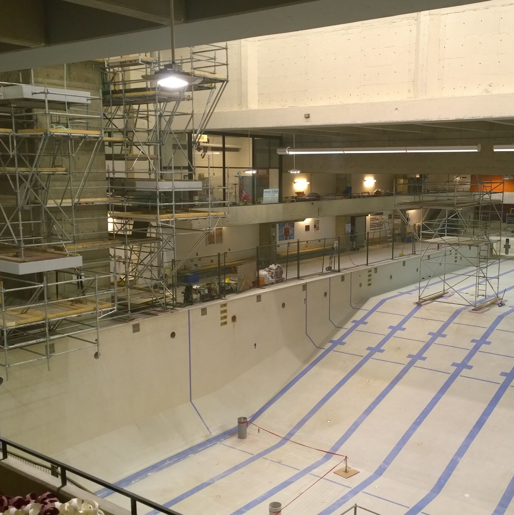 The Montpetit pool, drained and covered in scaffolding