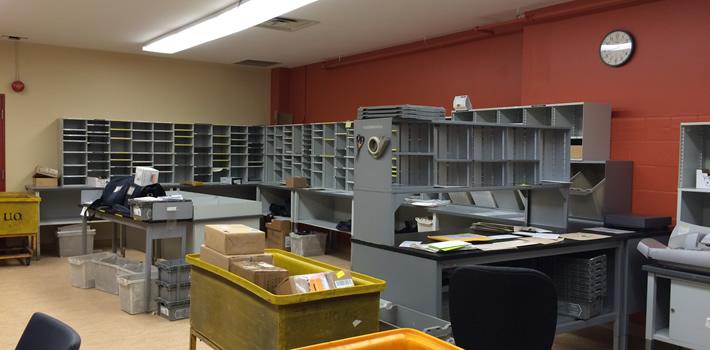 Inside the postal office