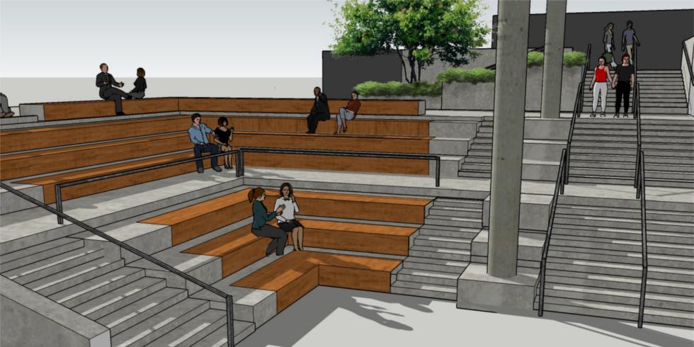 Une illustration des nouvelles marches et des bancs qui remplaceront celles qui descended actuellement vers le centre universitaire
