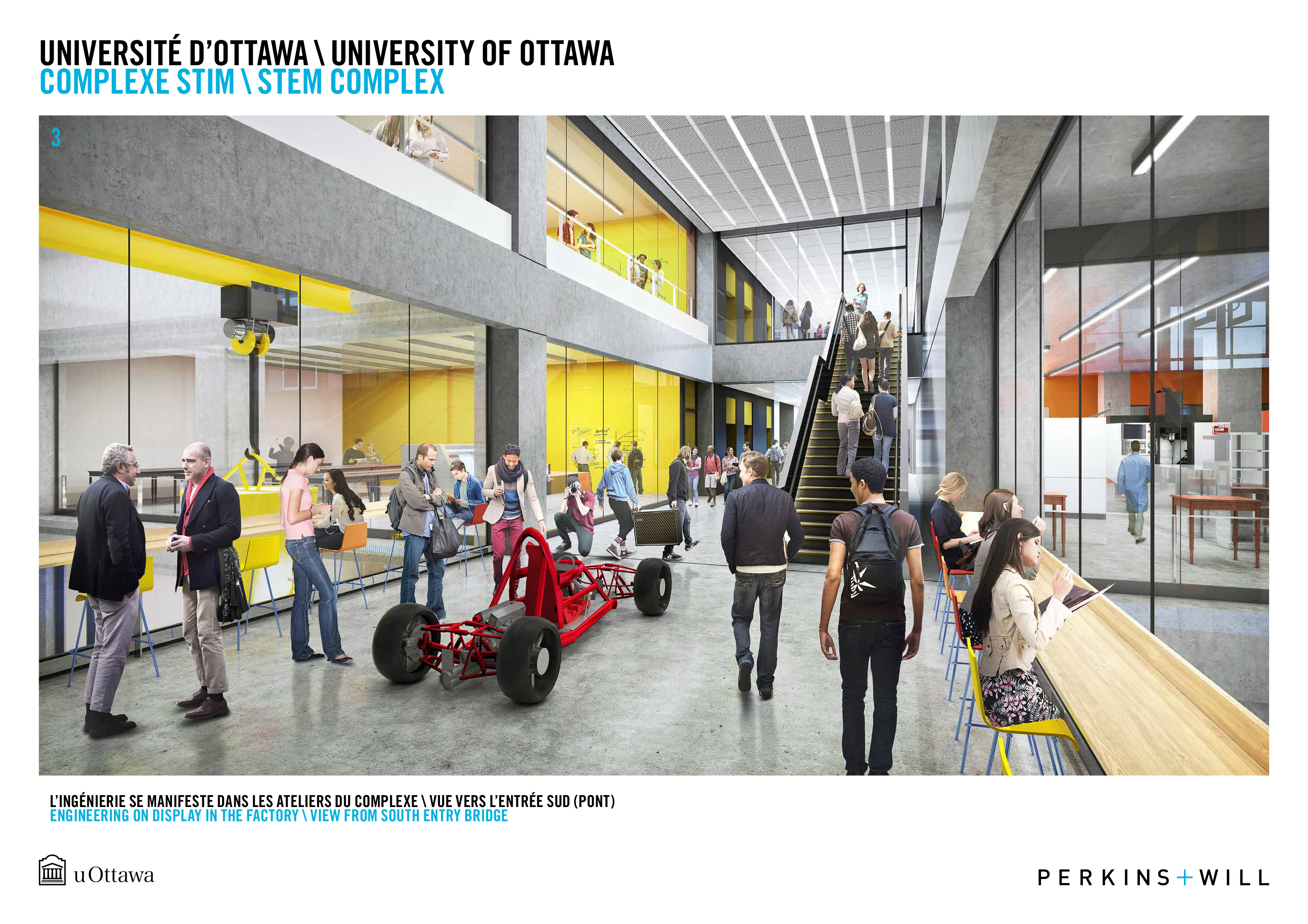 A rendering of the interior of the future STEM complex illustrating people walking down a busy, colorful hall