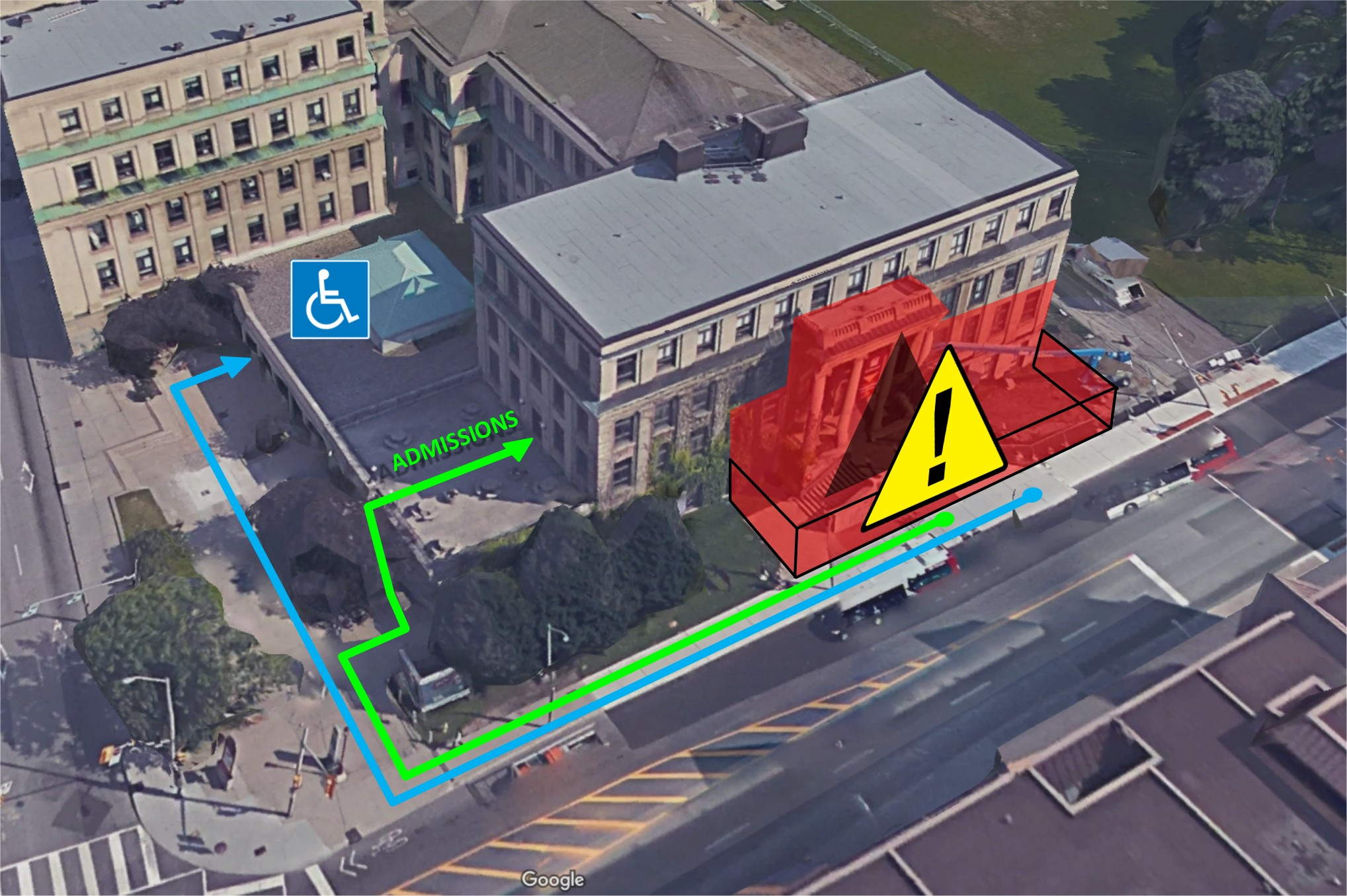 L'entrée de Tabaret qui donne sur Laurier sera inaccessible pour la durée des travaux; toutes les autres entrées resteront ouvertes, y compris l'entrée sur la terrasse supérieure et l'entrée accessible sur la rue Waller.