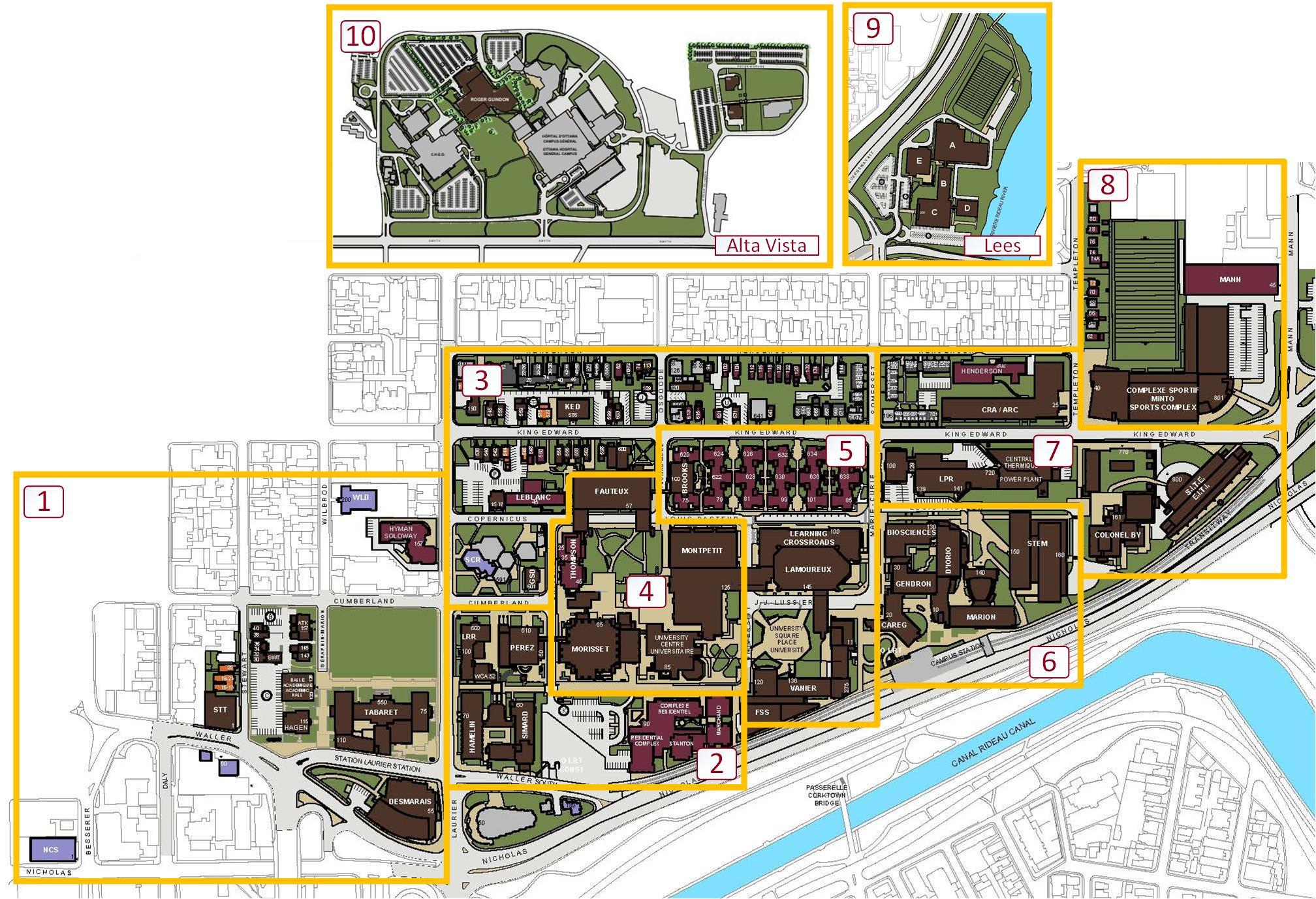 Image du campus divisé en zones