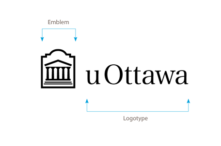 Horizontal black University of Ottawa logo on white background