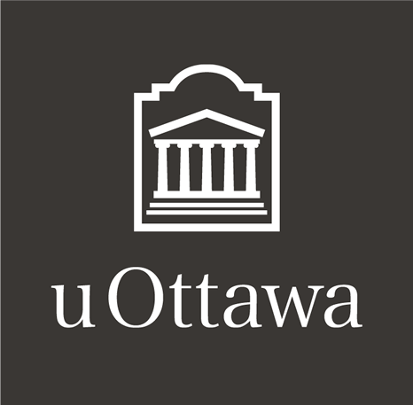 White vertical University of Ottawa logo on charcoal grey background