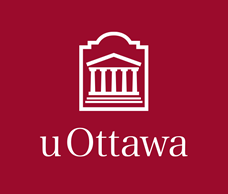 White vertical University of Ottawa logo on garnet background