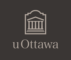 Light grey vertical University of Ottawa logo on charcoal grey background