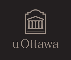 Grey vertical University of Ottawa logo on black background