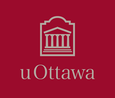 Light grey vertical University of Ottawa logo on garnet background