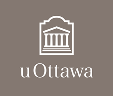 White vertical University of Ottawa logo on dark grey background