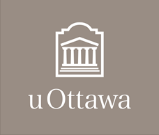 White vertical University of Ottawa logo on grey background