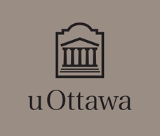 Black vertical University of Ottawa logo on grey background