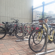 Picture of bikes locked inside the Lamoureux Bike Enclosure