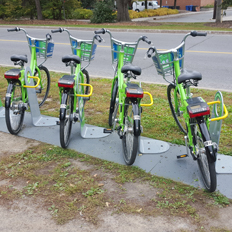 Picture of a bike rack owned by a local bike sharing company