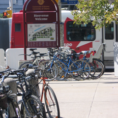 Bike racks full of bikes at the corner of Waller Street. OC Transpo bus in the background