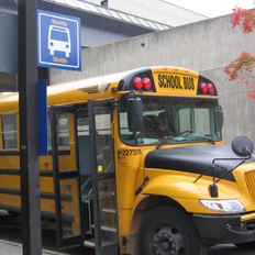 uOttawa Shuttle parked at Main Campus shuttle stop