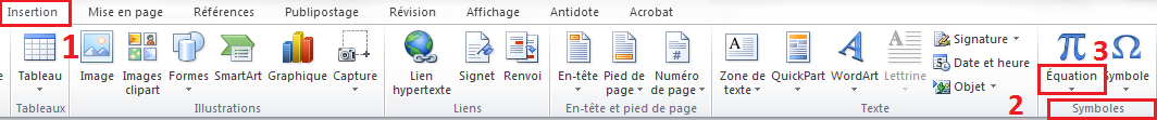 Barre d'acceuil word