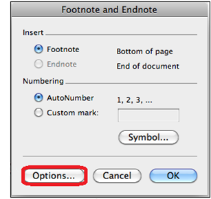 Footnote and endnote dialogue box