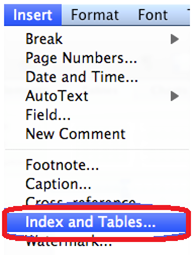 Insert index and tables tab