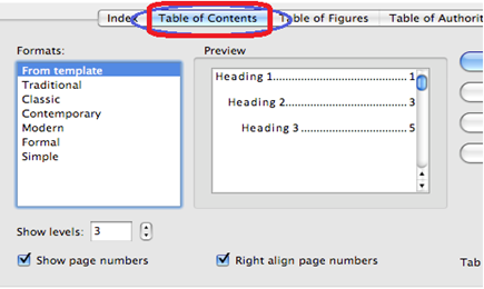 Table of contents dialogue box