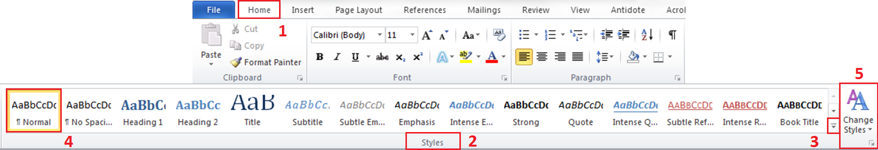 Home tab Styles group