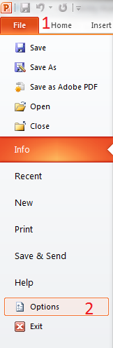 Options of the document
